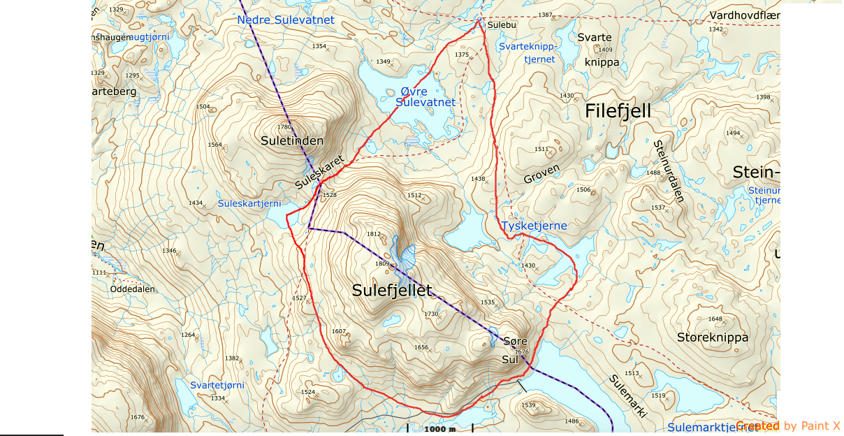 Rundløype Sulefjell_kart